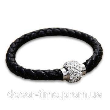 Браслет кожаный на руку женский, с магнитной застежкой для Черный 3943554