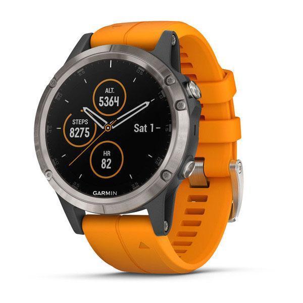 Умные часы Smart Watch Garmin Titanium Fenix 5 Plus Sapphire Black with spark Orange Band (010-01988-04)