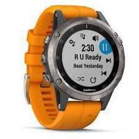 Умные часы Smart Watch Garmin Titanium Fenix 5 Plus Sapphire Black with spark Orange Band (010-01988-04), фото 2