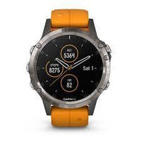 Умные часы Smart Watch Garmin Titanium Fenix 5 Plus Sapphire Black with spark Orange Band (010-01988-04), фото 3