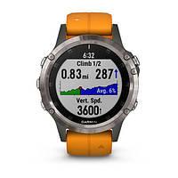 Умные часы Smart Watch Garmin Titanium Fenix 5 Plus Sapphire Black with spark Orange Band (010-01988-04), фото 4