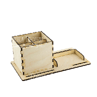 Деревянный органайзер для визиток и письменных принадлежностей