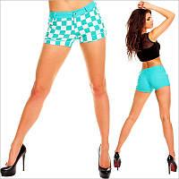 Короткие бирюзовые женские шорты
