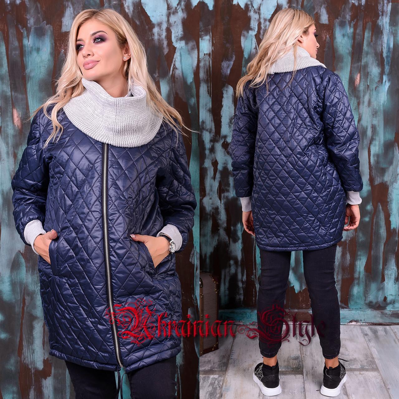 3ed0478e9f68 Демисезонная батальная молодежная женская длинная курточка со снудом. 3  цвета!