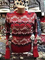 Свитер женский шерстяной без горла красный. Производство Турция.