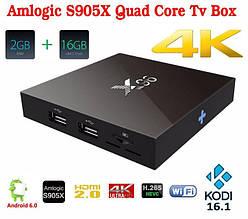 Смарт ТВ-приставка X96 2 ГБ, 16 ГБ S905X Amlogic Quad Core Android 6.0 TV Box WI-FI HDMI 2.0 A 4 ДО
