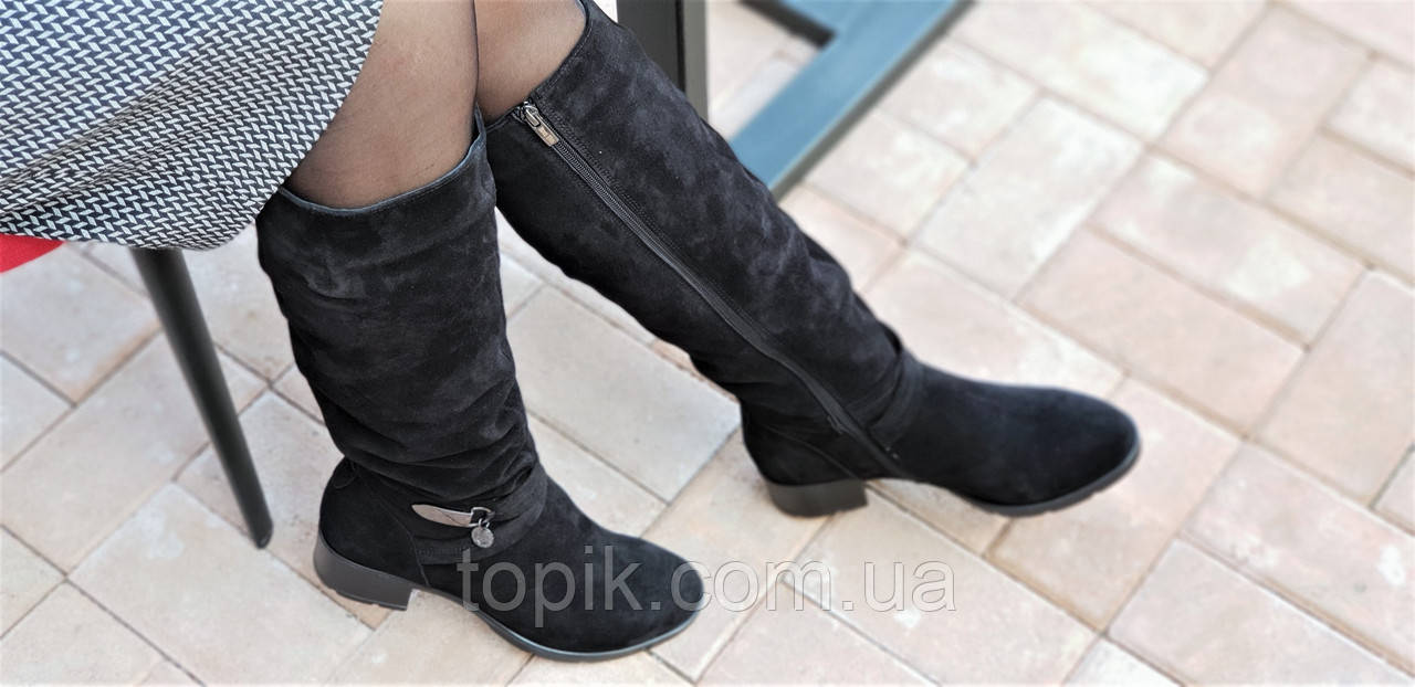1e326784f ... Женские зимние сапоги элегантные натуральная замша черные полушерсть  удобные стильные (Код: 1248), ...