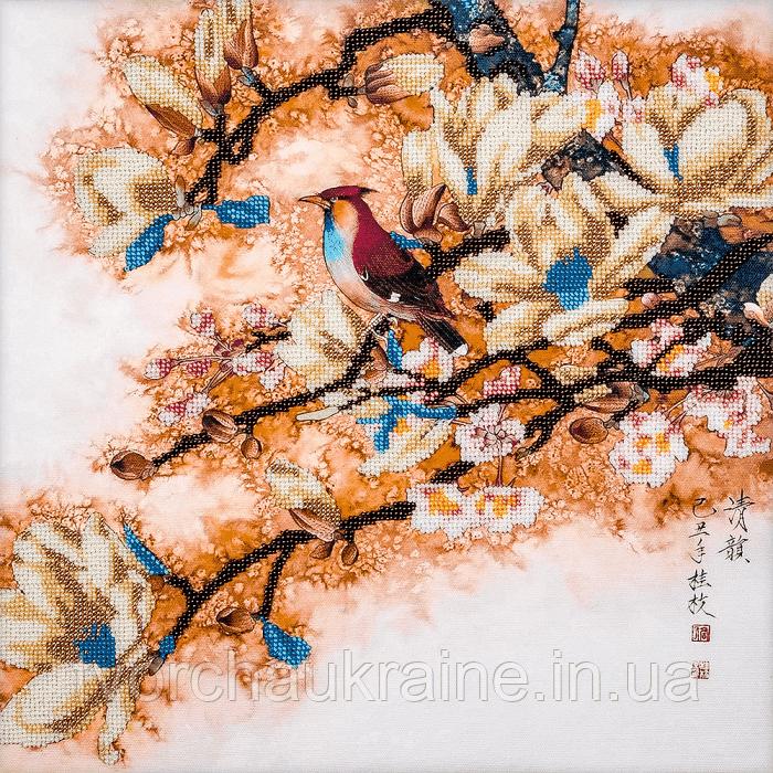 FLF-032 Птичка на сакуре. Набор для вышивки бисером на подрамнике