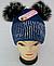 Шапка вязаная для девочки с помпонами м 6141, разные цвета, фото 2