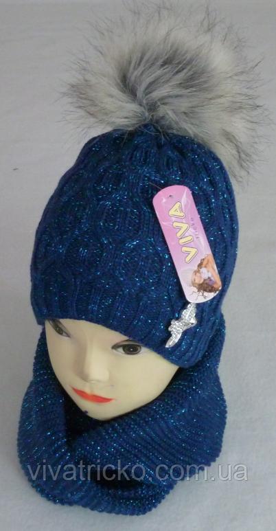 Комплект для девочки шапка на флисе и хомут с люрексом м 6149