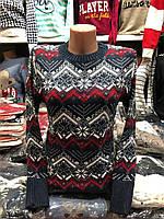 Свитер женский шерстяной без горла синий. Производство Турция.