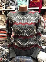 Свитер женский шерстяной без горла серый . Производство Турция.