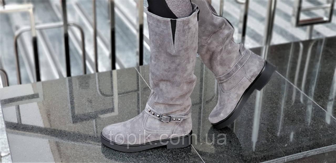 ... Женские зимние сапоги на толстой подошве натуральная кожа замша серые полушерсть  удобные (Код  1249 ... 6ecd60316ba51