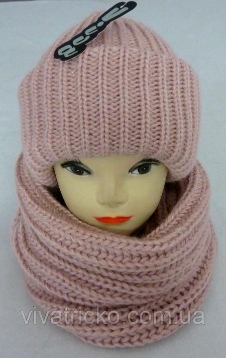 Комплект шапка на флисе и баф с люрексом м 6156