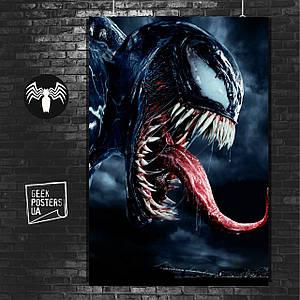 Постер Venom, Веном, Марвел. Размер 60x42см (A2). Глянцевая бумага