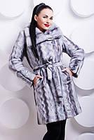 Шуба женская из эко-меха под норочку, серая волна, фото 1