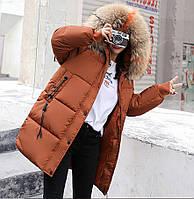 Женский пуховик коричневый зима