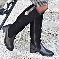 Женские зимние сапоги натуральная кожа, замша черные байка удобные стильные (Код: 1250)