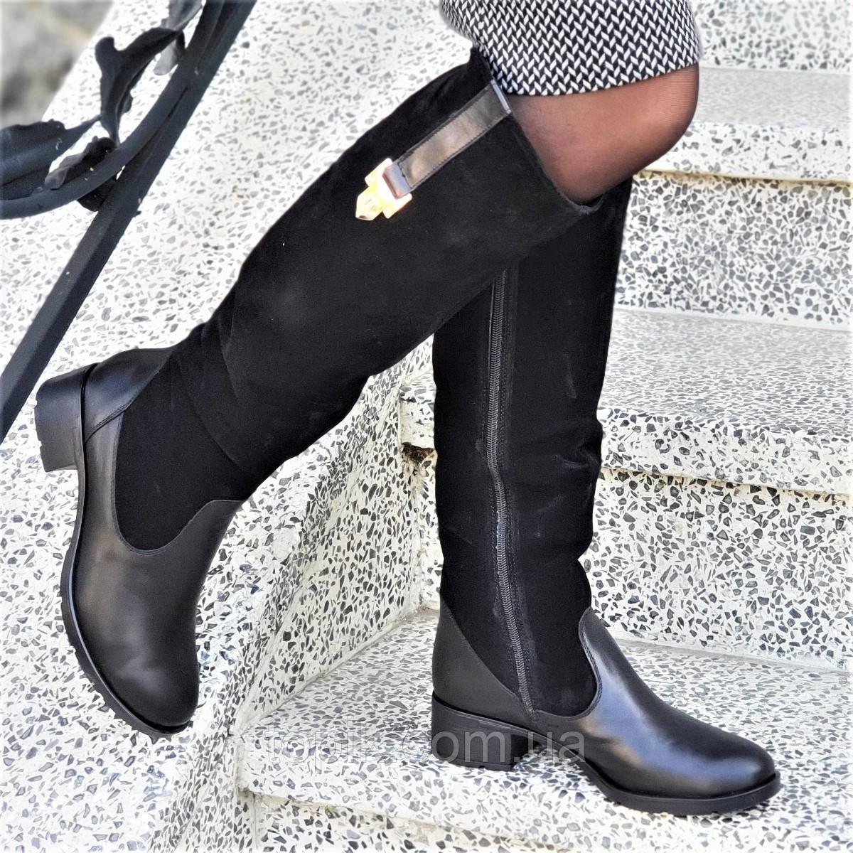 ef05e59b8 Женские зимние сапоги натуральная кожа, замша черные байка удобные стильные  (Код: 1250)