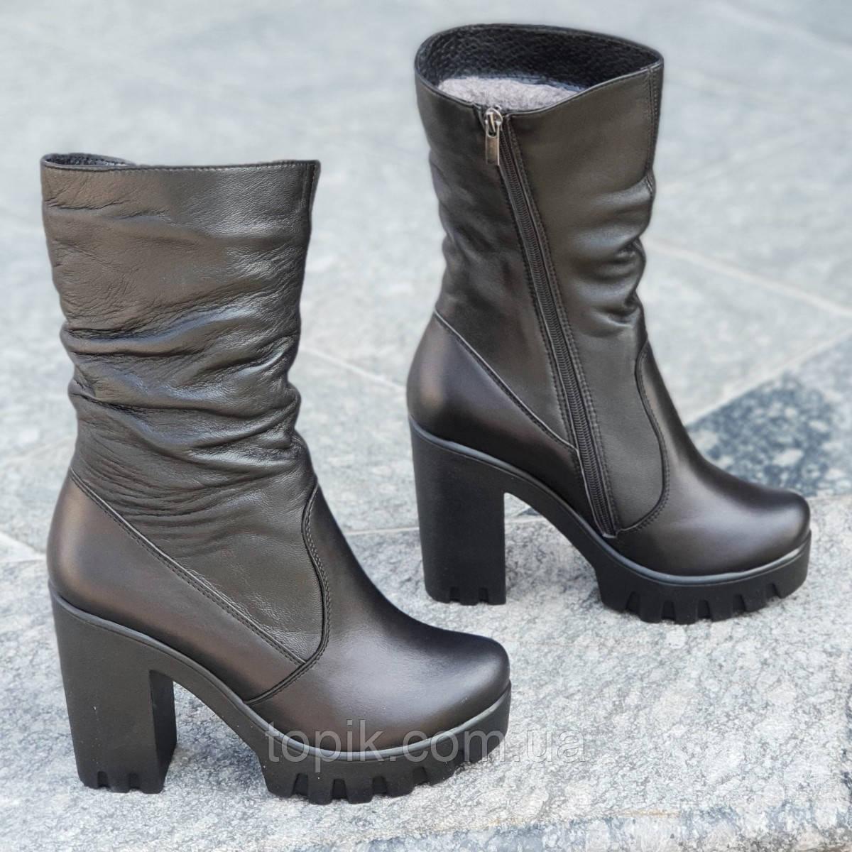 4a18d7af6 Женские зимние сапоги, полусапожки на высокой подошве, на платформе кожаные  полушерсть черные (Код: 1251)