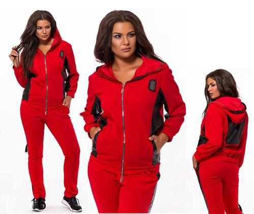 Спортивный костюм большого размера капюшон красный с черным 824016