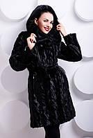 Шуба женская из эко-меха под норочку, черная волна, фото 1