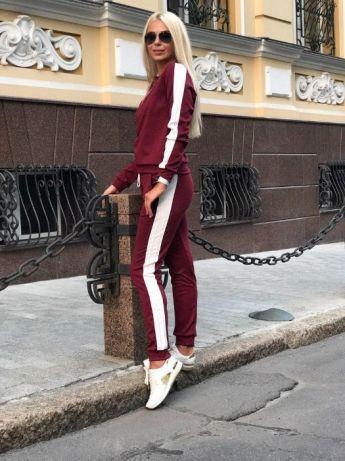 Кристи Женский спортивный прогулочный костюм с белыми лампасами ткань трикотаж С-ка бордо бордовый
