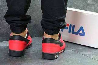 Красные мужские кроссовки прессованная кожа подошва резина (прошитые), фото 2