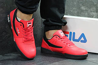 Красные мужские кроссовки прессованная кожа подошва резина (прошитые), фото 3