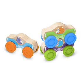 Набор деревянных машинок/пирамидок (Animal Stacking Cars) ТМ Melissa & Doug MD40129