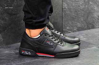 Мужские кроссовки черные прессованная кожа Подошва резина (прошитые), фото 3