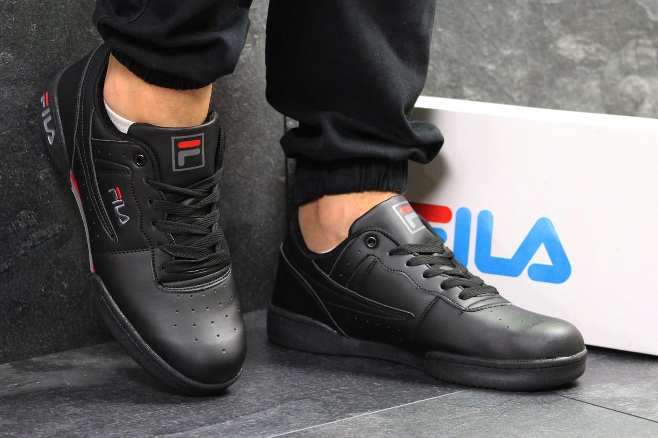 Мужские кроссовки черные прессованная кожа Подошва резина (прошитые)