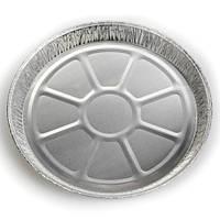 Тарелка круглая из алюминиевый пресс-формы 25 см; высота 1,5 см, в упаковке 25 шт.