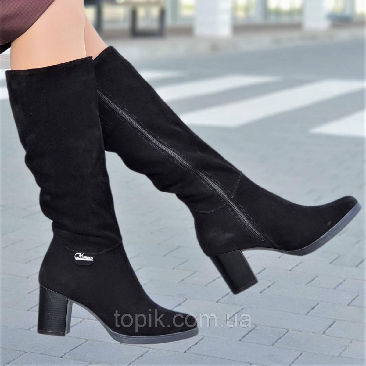 Женские зимние модельные сапоги на широком каблуке натуральная замша черные полушерсть стильные (Код: 1252)