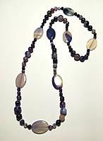 Длинные бусы из Агата, натуральный камень, цвет фиолетовый и его оттенки \ Sk - 0008