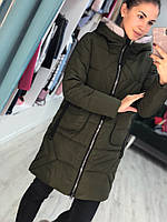 Женская куртка евро зима на синтепоне с капюшоном по колено