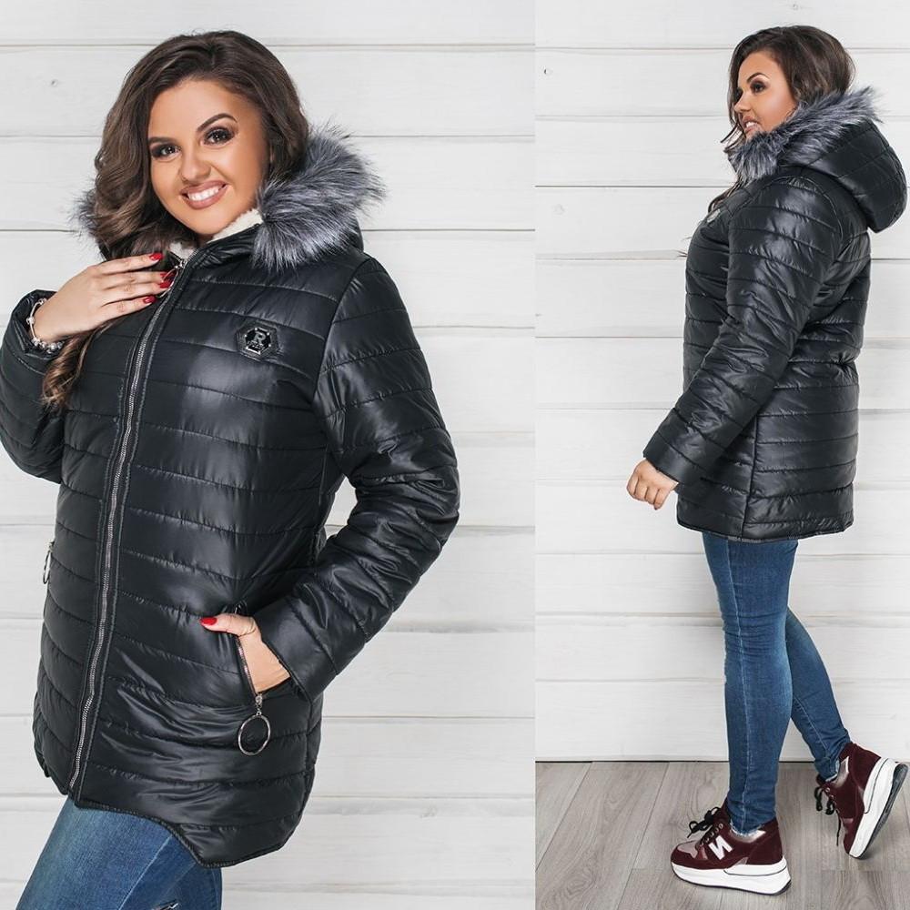 Жіноча зимова курточка з стьоганої плащовки на синтепоні 200 ... 70c04769bc9c7