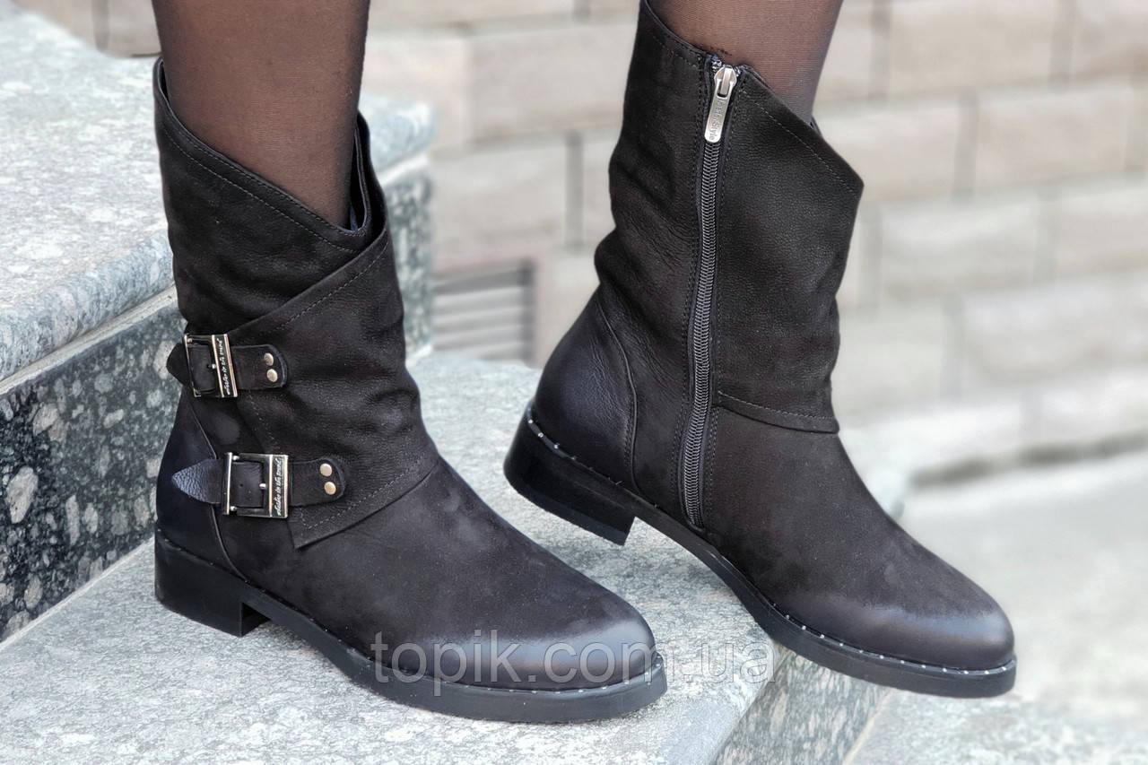 0297b2729159d7 Женские зимние ботинки, полусапожки натуральная кожа черные полушерсть  удобные популярные (Код: 1243а)