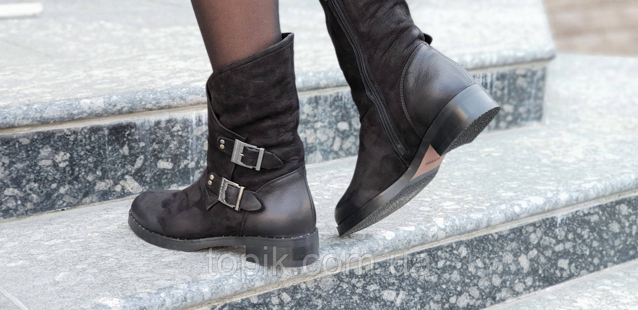 7d8fa8901ea209 ... Женские зимние ботинки, полусапожки натуральная кожа черные полушерсть  удобные популярные (Код: 1243а) ...