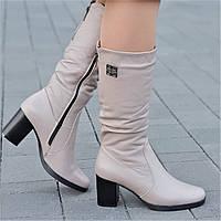 Женские зимние сапоги, полусапожки на широком каблуке натуральная кожа бежевые полушерсть удобные (Код: 1244а)