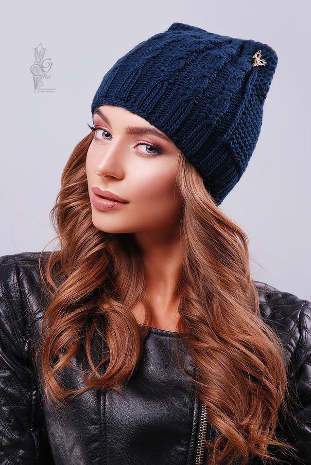 Синий цвет Вязаных женских шапок Кэти
