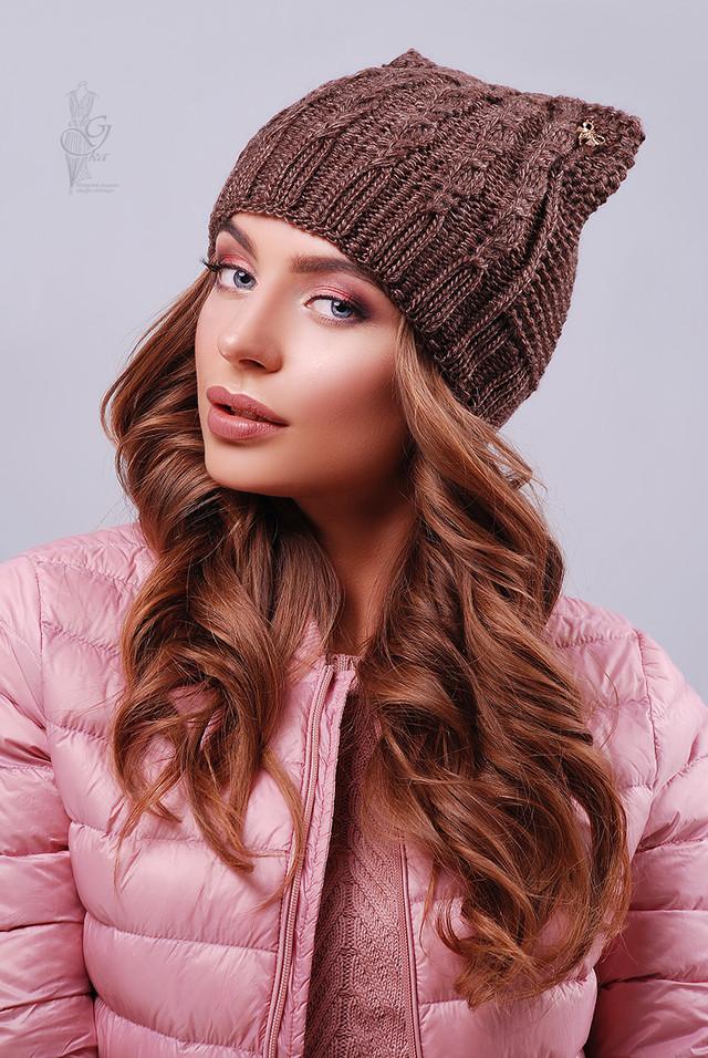 Цвет коричневый Вязаных женских шапок Кэти