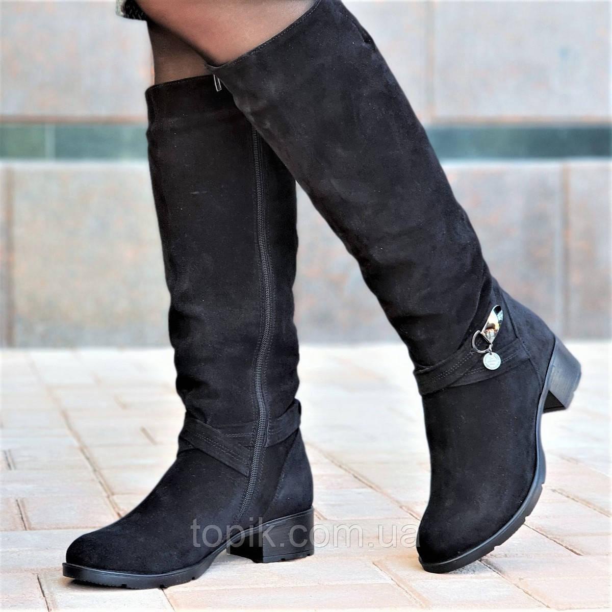 Женские зимние сапоги элегантные натуральная замша черные полушерсть  удобные стильные (Код  1248а) - 385e0c51b5487