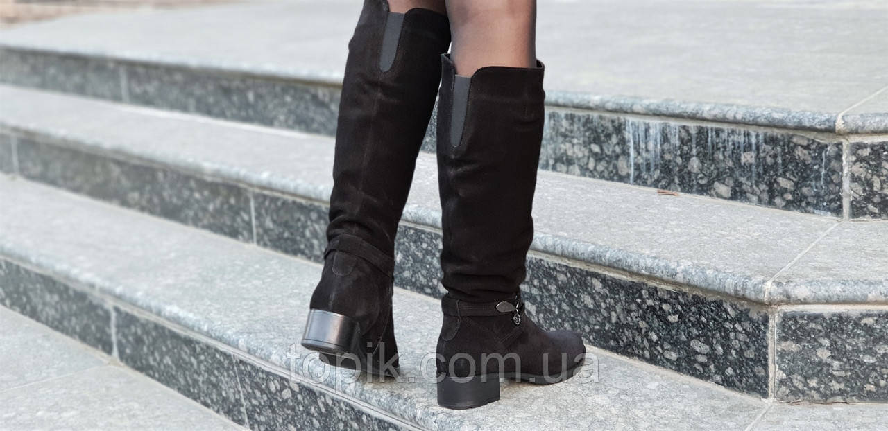 ... Женские зимние сапоги элегантные натуральная замша черные полушерсть  удобные стильные (Код  1248а) 51d31b2ad6f08