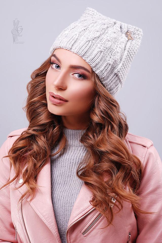 Цвет светло-серый Вязаных женских шапок Кэти
