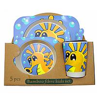 Набор детской бамбуковой посуды Морской конек