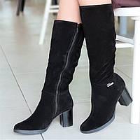 Женские зимние модельные сапоги на широком каблуке натуральная замша черные полушерсть стильные (Код: 1252а)