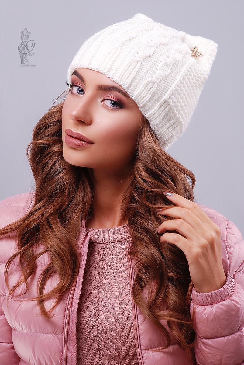 Вязаные женские шапки Кэти-8 нить шерсть-акрил