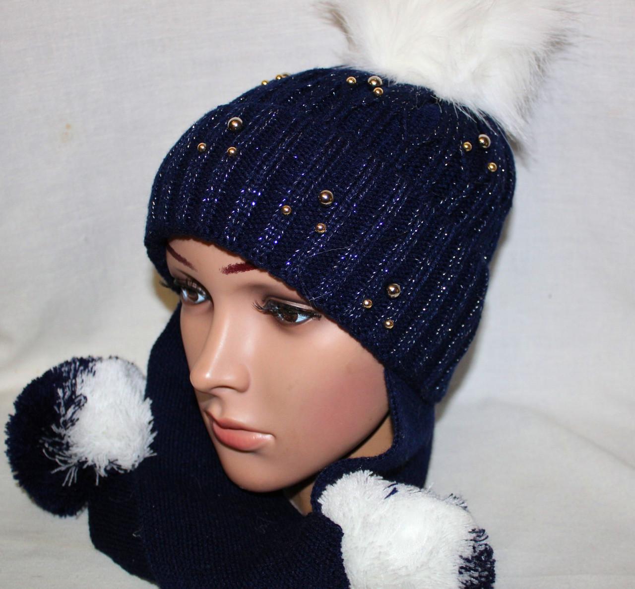 вязаная шапочка на флисе с ушами шарфом 4 7 лет D85 39 купить