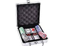 Покерный набор на 100 фишек с номиналом в металлическом кейсе